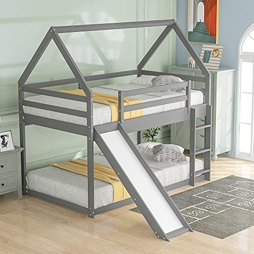 Merax Twin Over Twin Low Bunk Bed