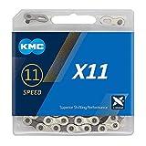 KMC Cadena Unisex X11 de 11 velocidades, Plateada/Gris, 114 eslabones