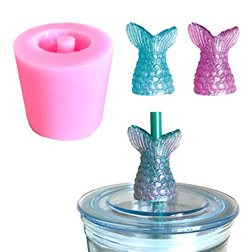 Mermaid Tail Straw Topper Silicone Mold for Epoxy Resin