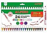 Rotuladores Doble Punta Alpino - Estuche 24 Rotuladores Punta Fina y Punta Gruesa - Perfecto para Colorear- Lavables, Colores Brillantes, Punta Resistente, Larga Duración