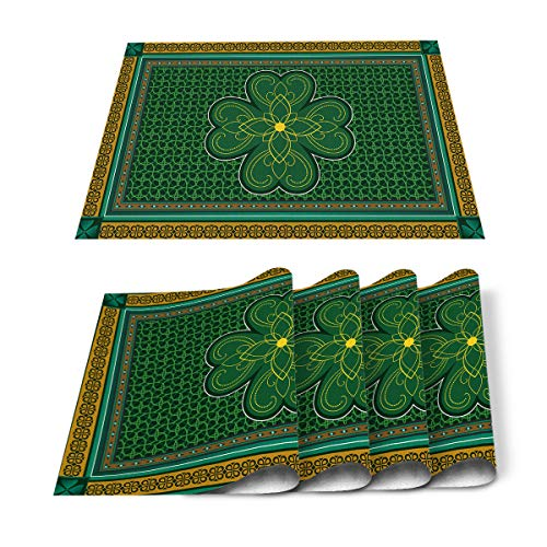 Yun Nist St. Patrick's Day Placemats Set of 6, Retro Celtic Knots Heat Resistant Placemat Waterproof Table Mats, Green Four Clover Leaves for Farmhouse Dining Tables Holiday Party Kitchen Decor