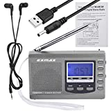 EXMAX EX-310 AM/FM/SW Portable Digital Radio Receiver, Battery Operated Radio with Blue LCD Backlit Display, Alarm Clock, Sleep Timer, DSP Chip for Office, Bedroom, Running, Walking - Gray