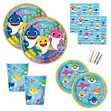 Baby Shark Theme Birthday Party Supplies Set for Boys or Girls - Serves 16 - Plates, Napkins, Cups and Candles - Dododo