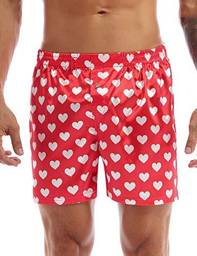 ranrann Herren Boxershorts Schlafhose Kurze Hose Herzchen Muster mit Gummizug Unterwäsche Nachtwäsche Glatt Lässig Freizeit Rot Large
