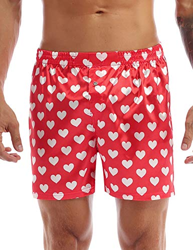 Agoky Men's Silky Satin Boxer Shorts Love You Valentine Special Pajamas Sleepwear Lounge Underwear Heart Print White B X-Large (Waist 31.5'-48.0')