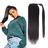 14' Human Hair Ponytail Extensions 80g #1B Natural Black 100% Remy Human Hair Wrap Around Long Ponytail Clip in Hair Extensions Straight One Piece Hairpiece (14', Natural Black)
