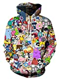 Azuki Unisex Fashion 3D Digital Printed pullover hoodies-Size L