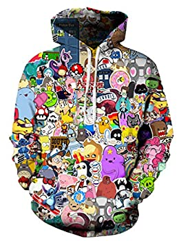 Azuki Unisex Fashion 3D Digital Printed pullover hoodies-Size XL