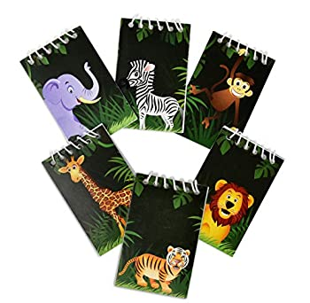 48 Count Zoo Jungle Animal Mini Notepads Safari Tropical Themed Birthday Party Favor Supplies Decor Lion Zebra Giraffe Tiger Elephant Monkey Animals Pals Baby Shower Spiral Notebook for Kids Classroom