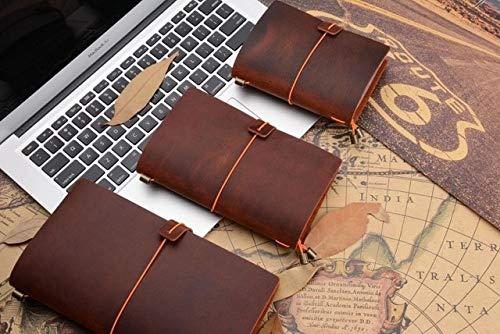 Cuaderno de cuero Cuaderno de dibujo hecho a mano Cuaderno de viaje Pasaporte 135x105 mm Naranja oscuro