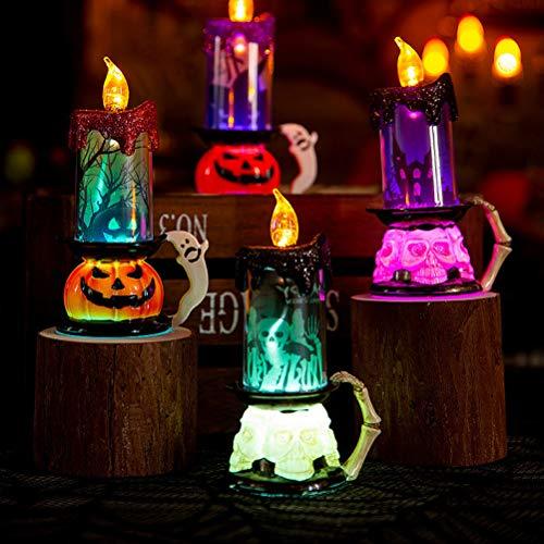Treer 4 Velas LED Sin Fuego, Luz De La Vela del LED Luces Sin Llamas para Halloween Decoración del Hogar Calabaza Bruja Araña Ambiente de Terror