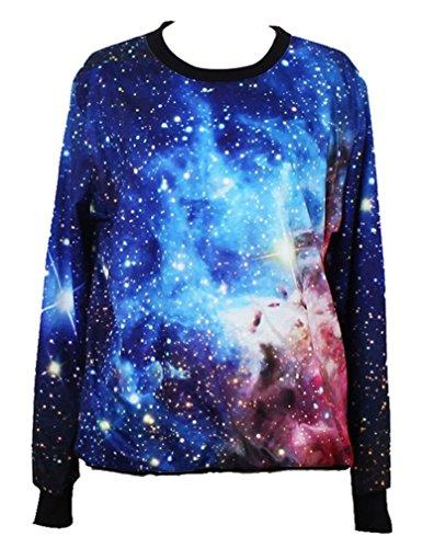 Pandolah Neon Galaxy Cosmic Colorful Patterns Print Sweatshirt Sweaters (Free size, Galaxy blue)