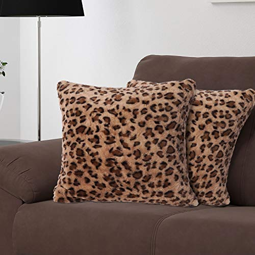 Funda de Almohada de Lujo de Piel sintética, cojín Decorativo de Felpa Minky Vellón, Funda de Almohada de Felpa esponjosa súper Suave Cremallera Impermeable, 45cm×45cm, marrón Leopard, 2 Paquetes