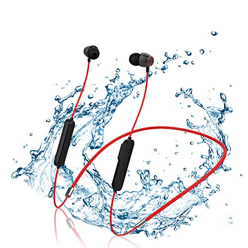 ockered Auriculares Bluetooth 5.0, Auriculares Inalámbricos Bluetooth Deportivos Magnético In-Ear Estéreo HiFi con Micrófono Anti-Sudor y Cancelación de Ruido Duración 10H para iOS Android (Rojo)