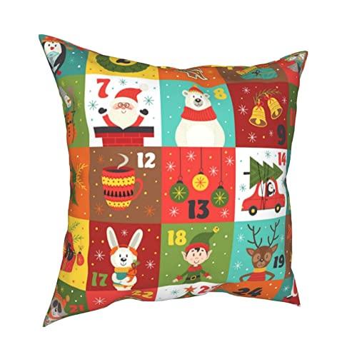 MSJS Calendario de adviento con personajes de Navidad, fundas de almohada decorativas de 45,7 x 45,7 cm, fundas de cojín cuadradas para el hogar, sofá, dormitorio, sala de estar