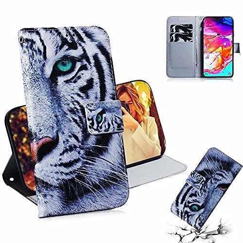 MTQLX Capa para Samsung Galaxy A71 para SM-A715F SM-A715F/DS SM-A715F/DSN SM-A715F/DSM SM-A715W SM-A715X Capa para celular com estampa de animais (tigre branco)