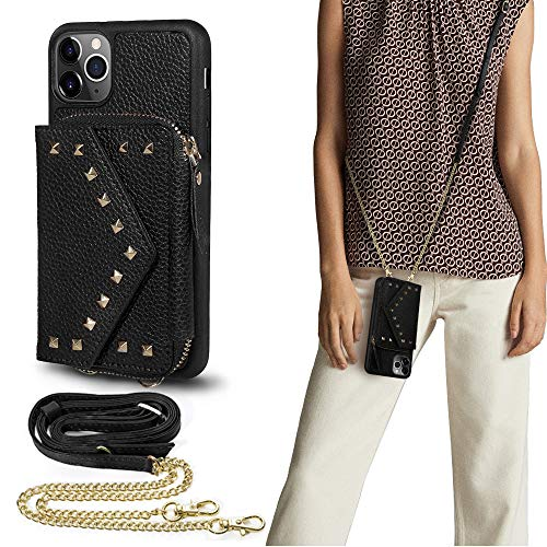 LAMEEKU Crossbody Zipper Wallet Case for iPhone 12 Pro Max 5G (6.7 inch) with Card Holder &Crossbody Chain Strap& Wristlet Strap for Women Men Any Teens Compatible with iPhone 12 Pro Max-Black