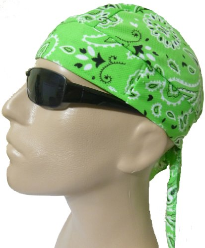 Skull Cap Neon Lime Green Paisley with Sweatband AKA Bikers Cap, Head Wrap, Headwrap, Durag, Doo Rag, Wrap Bandana, Bandanna 80% Polyester, 20% Spandex Stretchy Material, Easy to Use Under Baseball Caps, Motorcycle or Football Helmets, Running, Jogging, Exercising, Gardening, Cleaning to Keep Hair Out of the Face and Absorb Sweat or for Natural Balding or Use During Chemotherapy Cancer Treatments
