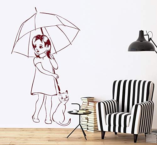 SUPERSTICKI Meisjes met paraplu en kat Muurtattoo woonkamer, keuken, hal, eetkamer stickers ca 60 cm autosticker hoogwaardige folie voor alle gladde oppervlakken UV- en wasstraatinstallaties