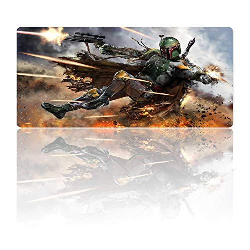 Large Gaming Mouse Pad XXL Boba Fett,Mousepad with Stitched Edge Frame & Anti-Slip Rubber Base,Oversize Laptop Desk Pad,Computer Keyboard and Mice Pads Mouse Mat 35.4X15.7