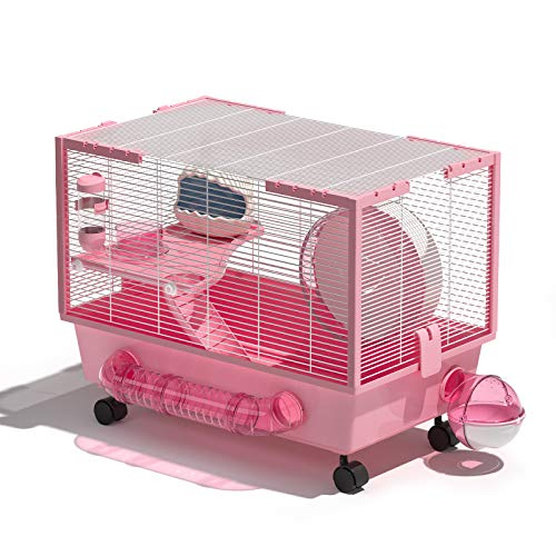 Rolife Hamster Cage Large Hamster Habitats Small Animal Cage for Syrian Hamster (Pink)