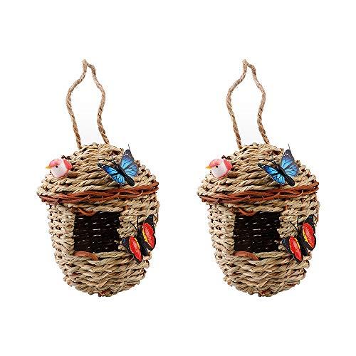 æ— Nido de paja, 2 piezas de césped natural tejidas jaulas de pájaros colgantes para la cría de pájaros, jaula de paja, casa de pájaros con mariposas falsas y pájaros (color al azar)