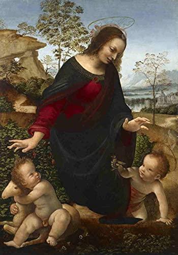 Puzzles para niños Rompecabezas de 300 Piezas Da Vinci la Virgen y el Niño con el Infante San Juan Bautista 300 Puzzles de Madera Descompresión para niños Adultos Regalos de cumpleaños
