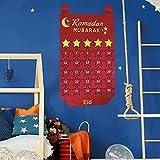 ZURITI Calendario de Adviento de Ramadán Mubarak, Calendario de Cuenta Regresiva Colgante de Eid Mubarak, 30 días de decoración de Adviento de Eid Mubarak, Suministros de Fiesta para el hogar Red