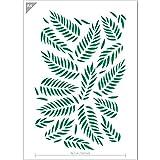 QBIX Plantilla de hojas de palma, plantilla con patrón de hojas, tamaño A4, reutilizable, ideal para niños, para pintar, hornear, manualidades, pared, muebles