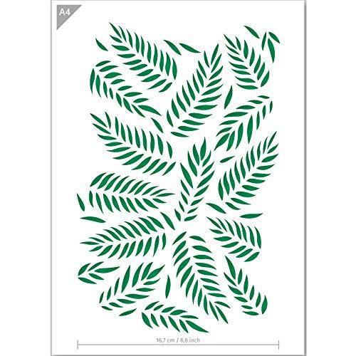 QBIX Plantilla de hojas de palma, plantilla con patrón de hojas, tamaño...
