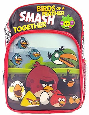 """Rovio Angry Birds Boys & Girls 16"""" Canvas Red School Backpack 3D Applique"""