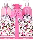 BRUBAKER Cosmetics - Coffret de bain & douche - Jardin fleuri/Rose - 13 Pièces - Boîte vintage décorative - Idée cadeau