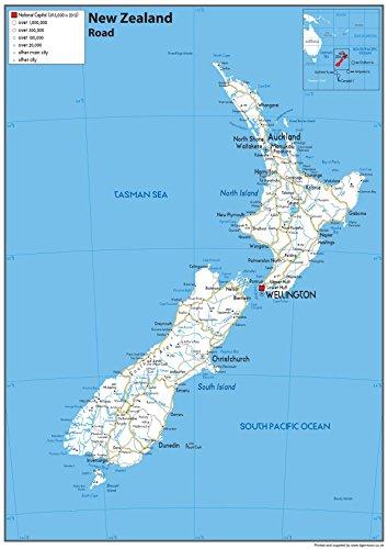 Neuseeland Straßenkarte – Papier laminiert – A1 Größe 59,4 x 84,1 cm