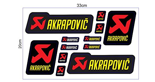 1 Set (12 Aufkleber) JDM Akrapovic Racing Sticker Autocollant Pegatinas + plus TOPHEADS© Eyewear Sticker + Motocross BMX Auto Car Bike JDM DUB Tuning Racing