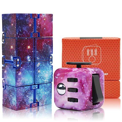 Bdwing 2 Piezas Fidget Toy Cube Antiestress , Juguete de Cubo Antiestrés Stress , Descompresión de Juguete , Juguete de Dedo Sensorial para Adultos y Niños