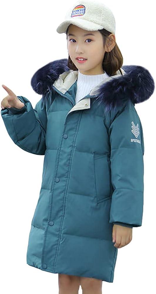 LSPAR Girls Winter Coat Kids Fur Collar Hooded Printed Jackets Snowsuit Windbreaker Outerwear