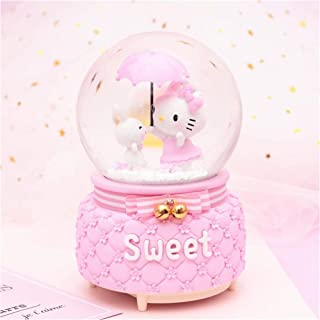 Pink HIKEL Lovely Music Box Snow Globes Giraffe and Cactus Water Globe with Led Light for Birthday Gifts Holiday Day Childrens Gift