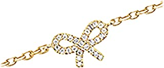 Les Trésors De Lily [K9109] - Oro catena placcata caviglia 'Noeud Romantique' bianco.