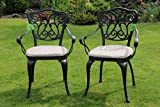 Made for us® 2 Gartenstühle aus wetterfestem Aluguss mit UV beständiger AkzoNobel Einbrennlackierung. Inkl. 2 waschbaren Sitzkissen. Original