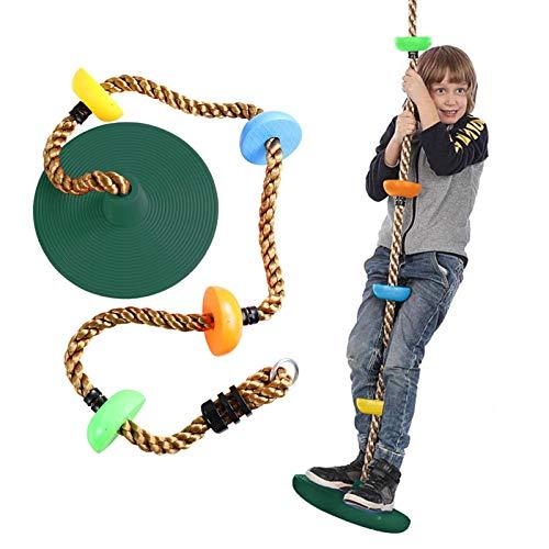 Sasaly Cuerda de oscilación con plataforma de asiento de disco Set Swing Toy Foot Holder Árbol colgante cuerda de escalada diversión para niños al aire libre (AA-verde, talla única)