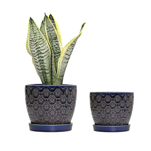 Modern Ceramic Flower Plant Pot - 6.5 inch and 5.5 inch Modern Decorative for Indoor Outdoor Garden Planters with Drainage Hole and Ceramic Tray for Succulents,Plants, Flowers, Set of 2
