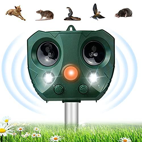Repelente de Gatos, Repelente Ultrasónico Animales, Ahuyentador de Gatos Solar y USB, Ahuyentador por Ultrasonico para Animales con LED Que Destella, Outdoor Repeller para Gatos, Perros, Ratones, Aves
