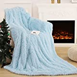 Wellber Extra Soft Fuzzy Faux Fur Throw Blanket, Reversible Decorative Fluffy Sherpa Blanket, Lightweight Cozy Microfiber Plush Furry Shaggy Fleece Blanket for Couch Sofa Bed, 50''x60'' Ice Blue