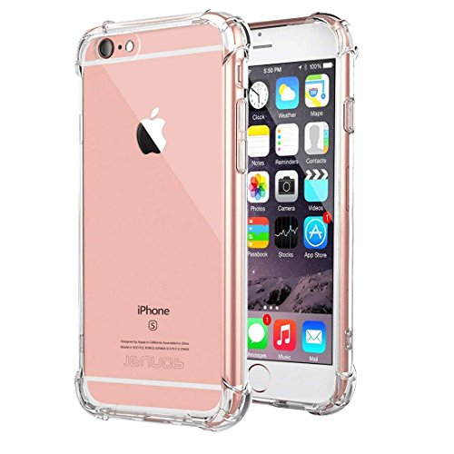 """Cover iPhone 6 / iPhone 6s, Custodia Jenuos Trasparente Antiurto Paraurti Silicone Trasparente Cover TPU per iPhone 6 / 6S 4.7"""" - Trasparente (6G-TPU-CL)"""