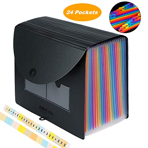 Samsill 24 Pocket Expanding File Folder//Accordion Folder//Filing Organizer//Letter Size Rainbow Color Expandable Files with Index Tabs//Office Supplies or School Supplies File Organizer-2 Pack