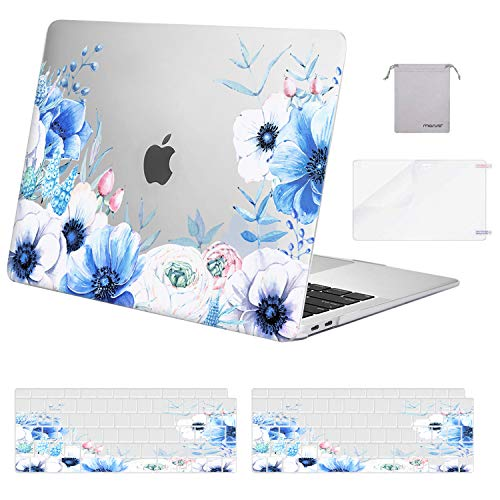 MOSISO MacBook Air 13 inch Case 2018-2020 A2337 M1 A2179 A1932,Plastic Myosotis Hard Shell & Keyboard Cover & Screen Protector & Storage Bag Only Compatible with MacBook Air 13 inch Retina,Transparent