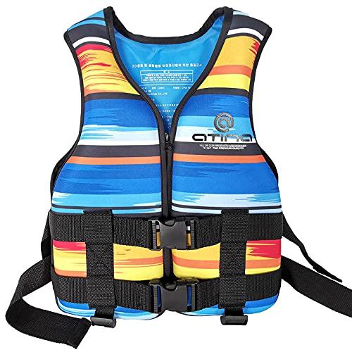 HJCC Chaleco Salvavidas para Niños Chaleco De Flotabilidad - Traje De Baño Ajustable, Natación, Aprendizaje, Piscina, Buceo, Playa, Surf, Seguridad,Azul