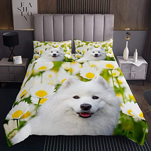 Kids 3D Dog Bedspread Cute Pug Dog Coverlet for Boys Girls Teens Youth Man Daisy Flowers Pet Dog Quilt Set Lovely Animal Theme Decor Quilted Room Decor 2Pcs Single Size