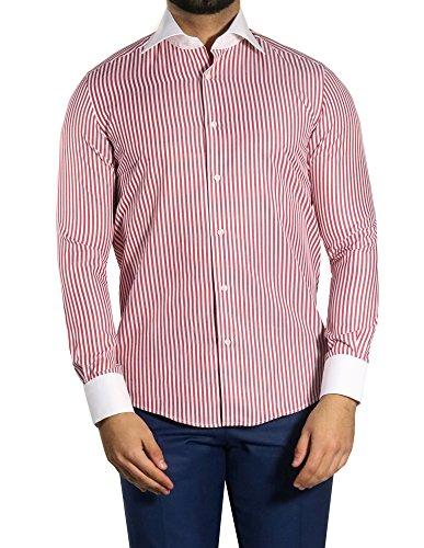 MMUGA Herrenhemd Winchester-Kragen Hemd Slim-fit/Tailliert Bordeaux M