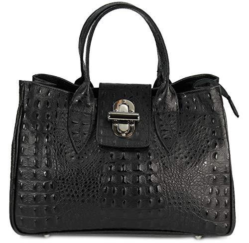 Belli Echt Leder Handtasche Damen Ledertasche Umhängetasche Henkeltasche in schwarz matt Kroko Prägung - 36x25x18 cm (B x H x T)